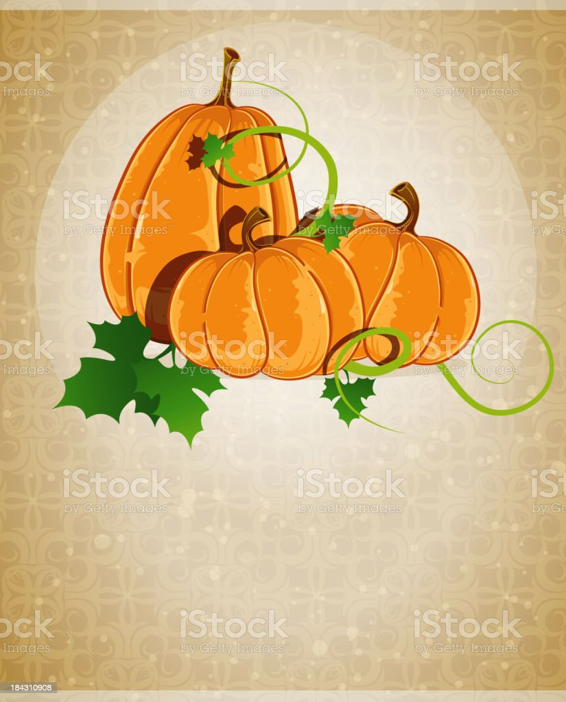 Pumpkins on a beige background royalty-free stock vector art