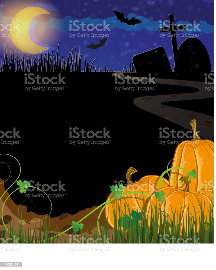 Pumpkins on a cemetery royalty-free stock vector art