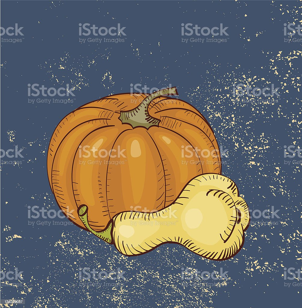 Pumpkins On Blue Grunge Background vector art illustration