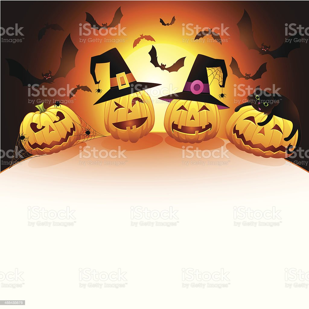 Pumpkins on Hill royalty-free stock vector art