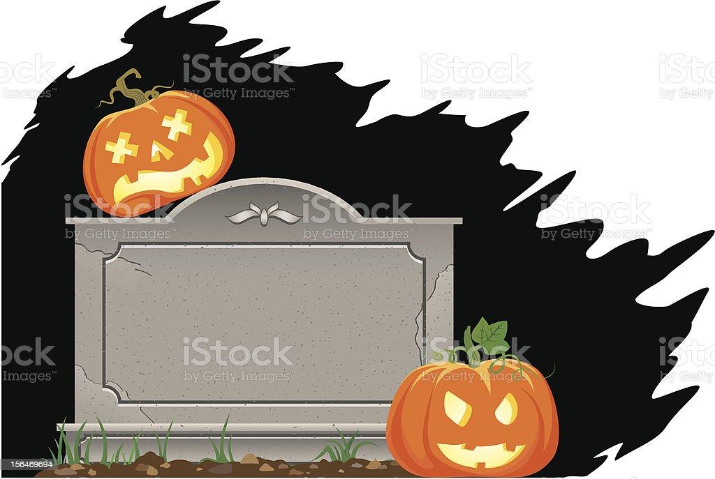 Pumpkins on the grave vector art illustration