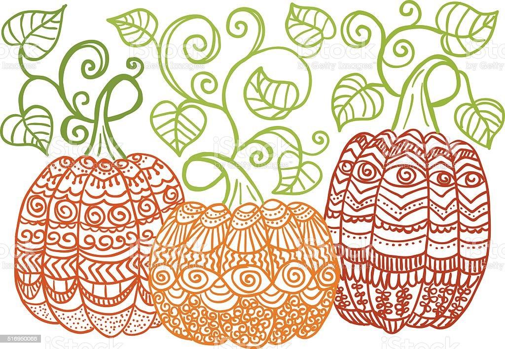 Pumpkins vector art illustration