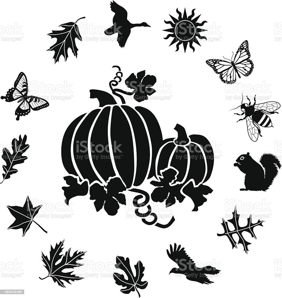 pumpkins with an autumn ring border vector art illustration