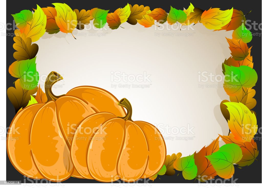 Pumpkins with  leaves royalty-free stock vector art