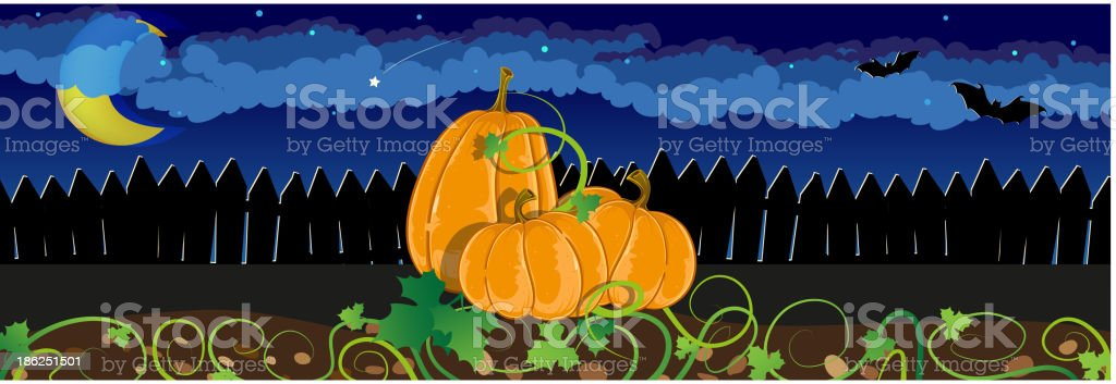 Pumpkins with sprouts and leaves royalty-free stock vector art