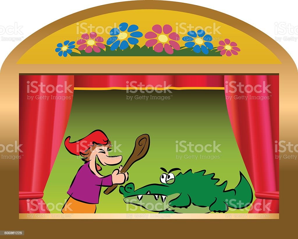Punch And Crocodile vector art illustration