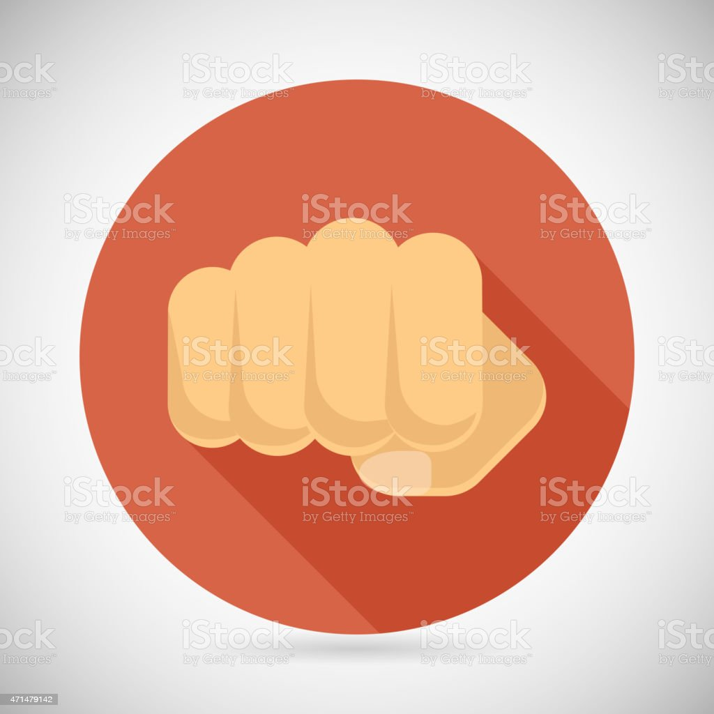 Punch Fist Hand Palm Icon Social Power Courage Determination Symbol vector art illustration