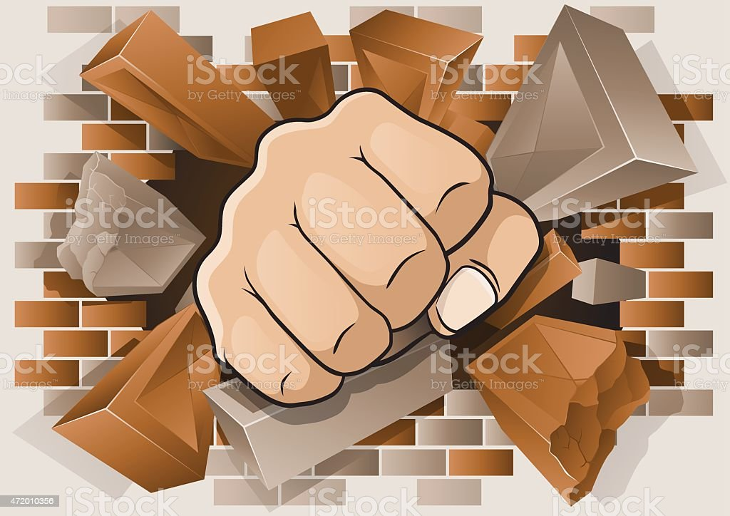 Punching Fist through Exploding Brick Wall. vector art illustration