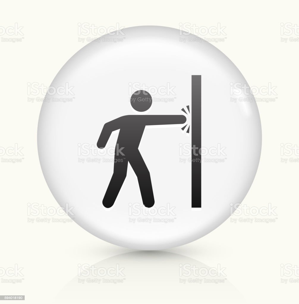 Punching Wall icon on white round vector button vector art illustration