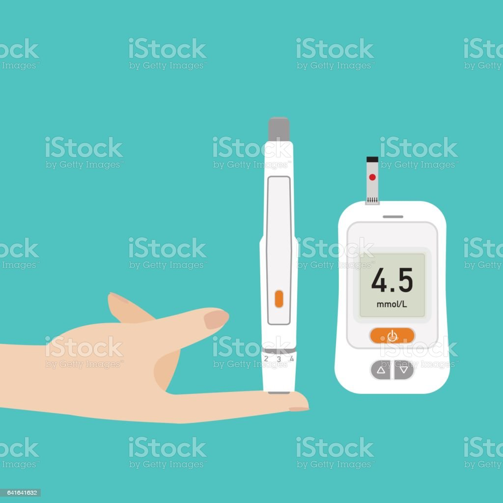 Puncture the finger using an automatic Lancet to check blood sugar on Glucose meter vector art illustration