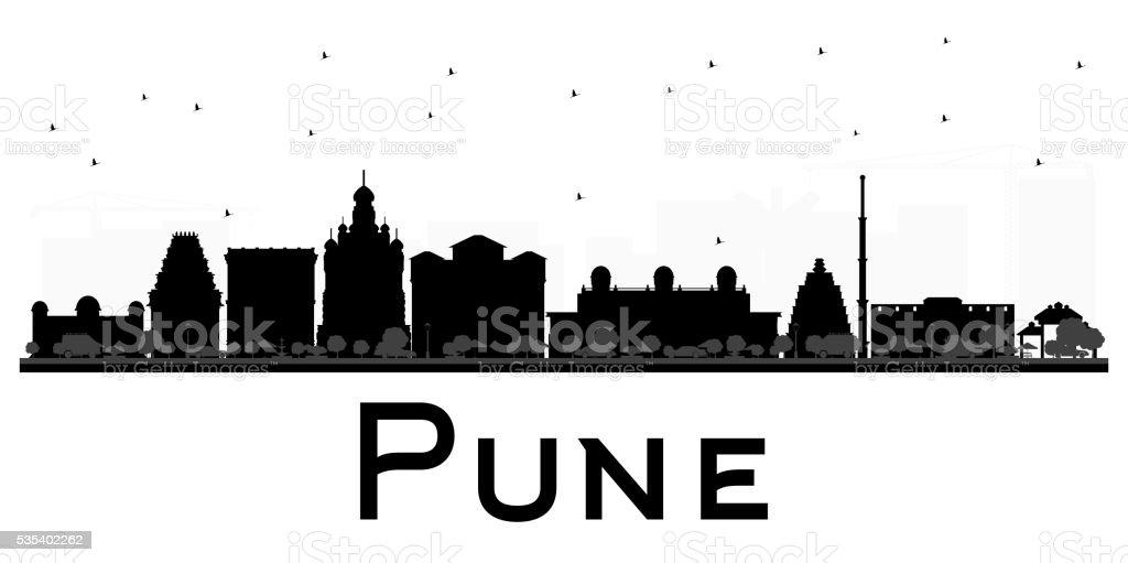 Pune skyline black and white silhouette. vector art illustration