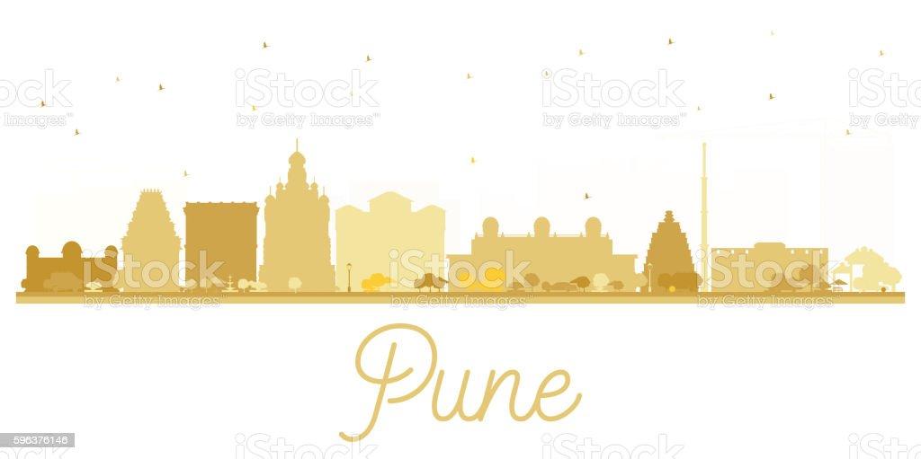 Pune skyline golden silhouette. vector art illustration