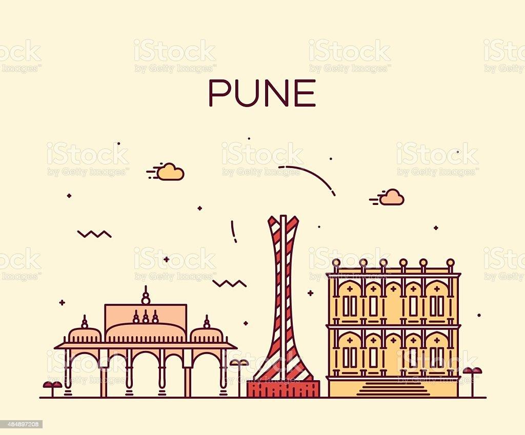 Pune skyline trendy vector illustration linear vector art illustration