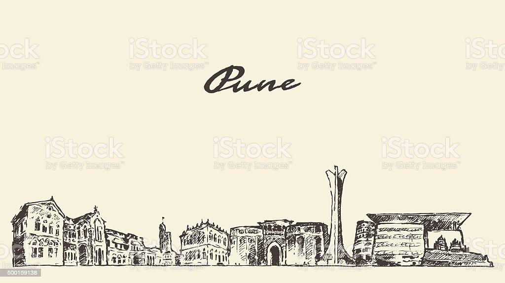 Pune skyline vector illustration hand drawn vector art illustration