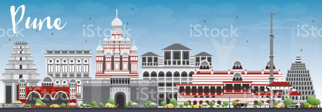 Pune Skyline with Color Buildings and Blue Sky. vector art illustration