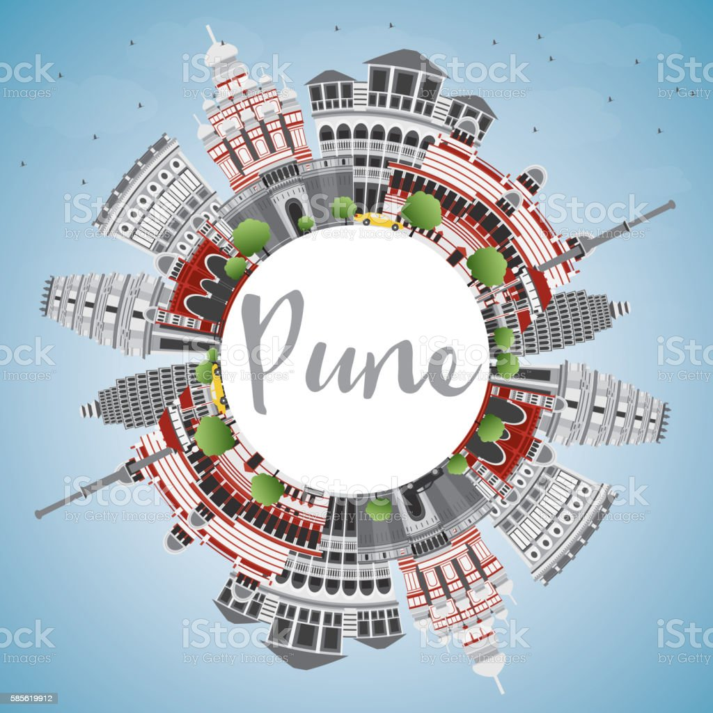 Pune Skyline with Color Buildings, Blue Sky and Copy Space. vector art illustration