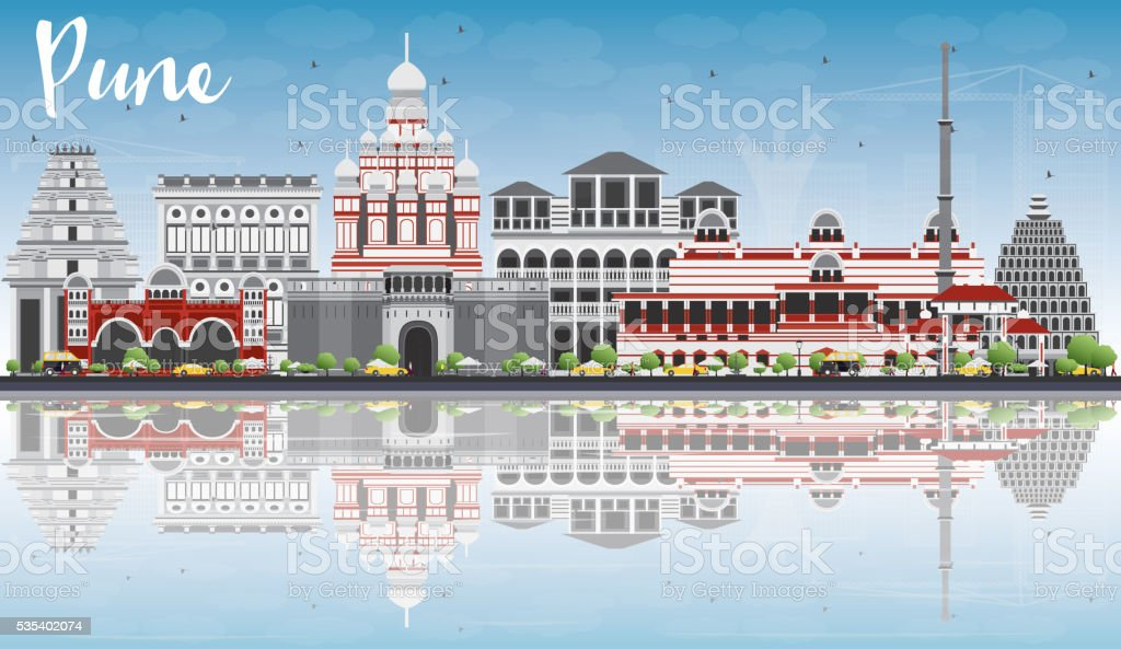 Pune Skyline with Color Buildings, Blue Sky and Reflections. vector art illustration