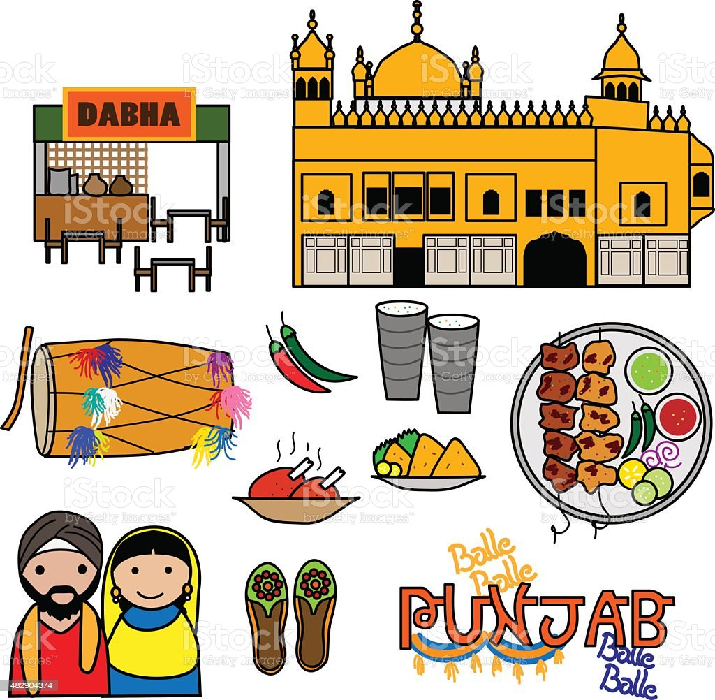 Punjab Vecto icons vector art illustration