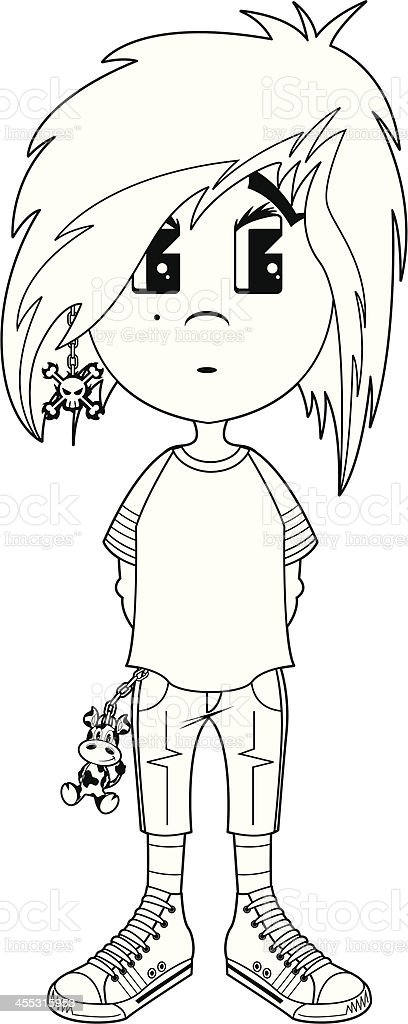 B&W Punk Emo Girl vector art illustration
