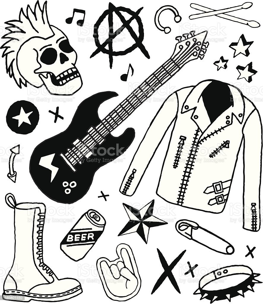 Punk Rock Doodles royalty-free stock vector art