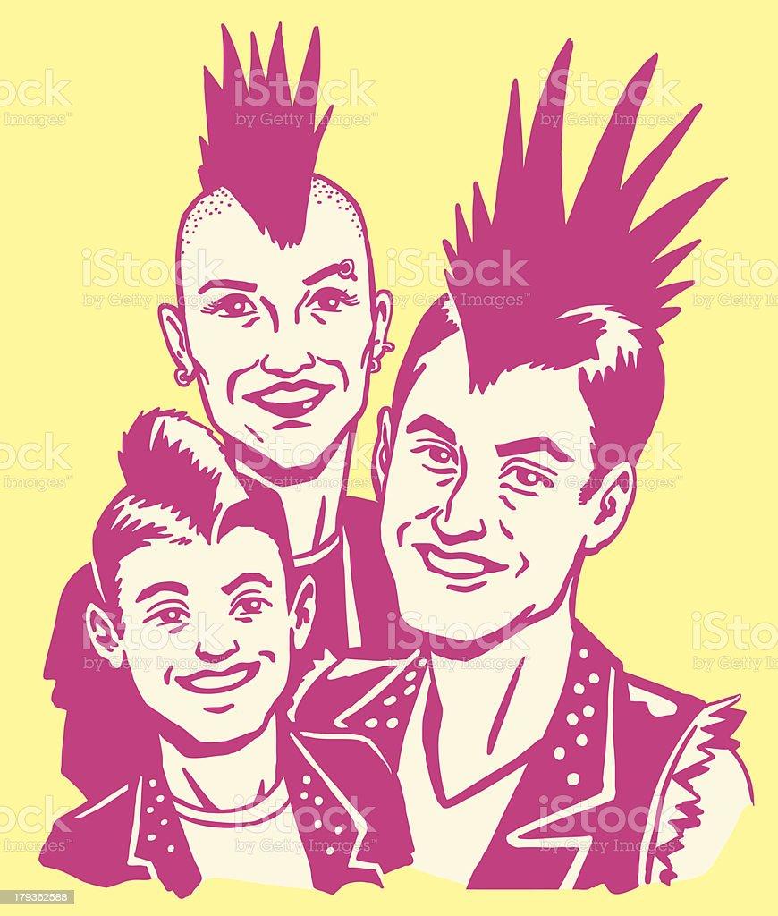 Punk Rock Family vector art illustration