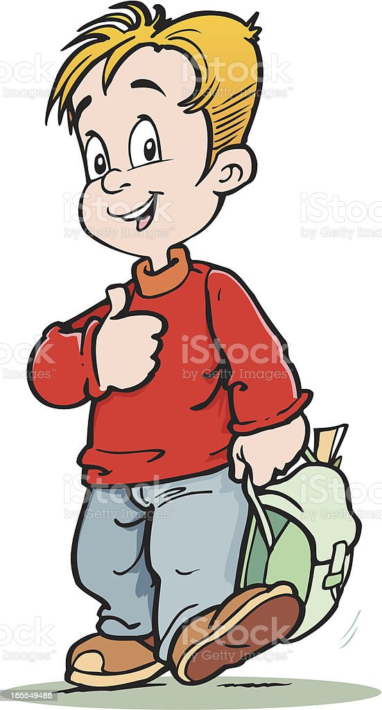 Pupil with bag royalty-free stock vector art