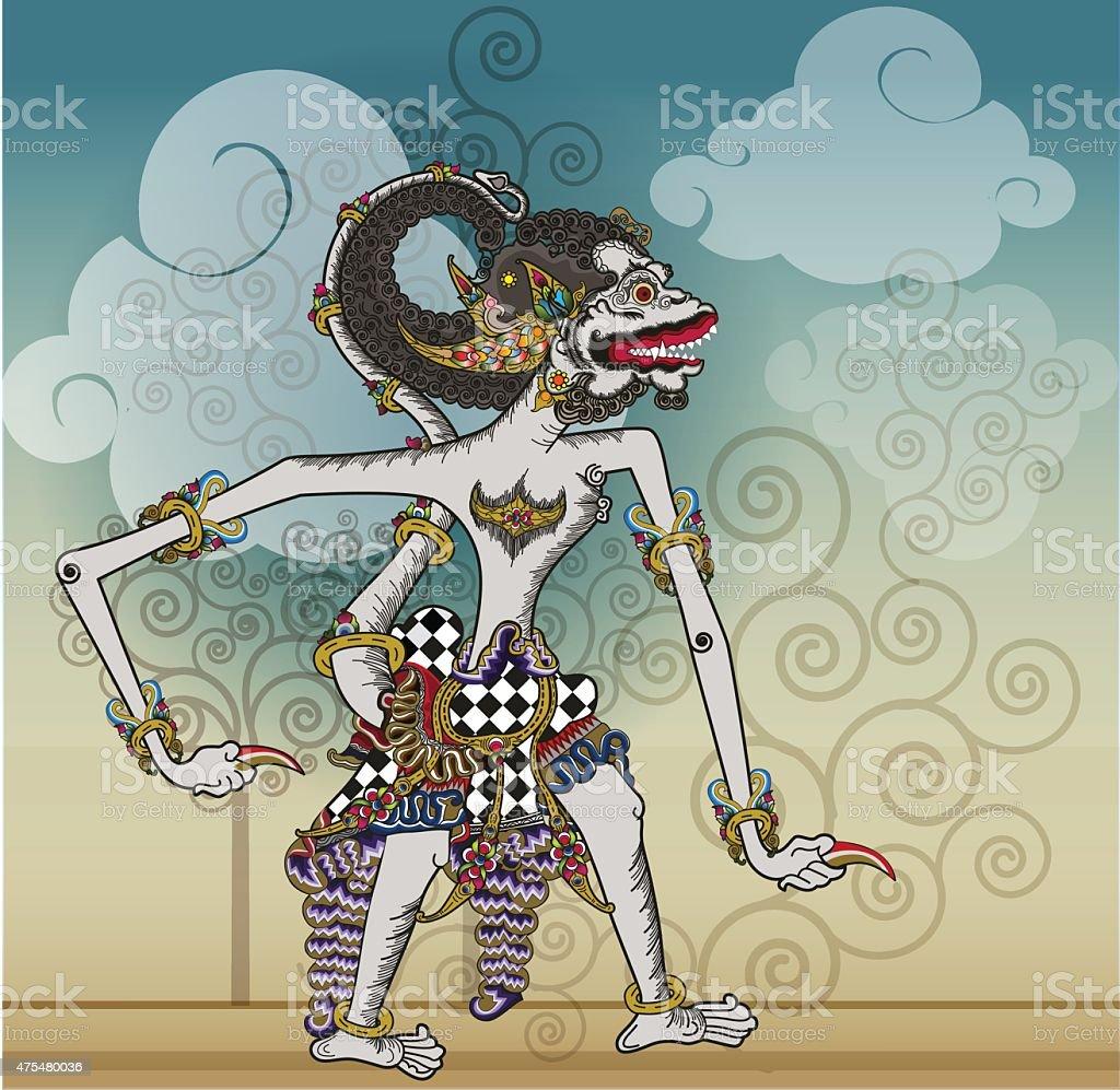 Puppet characters Hanuman the white monkey vector art illustration