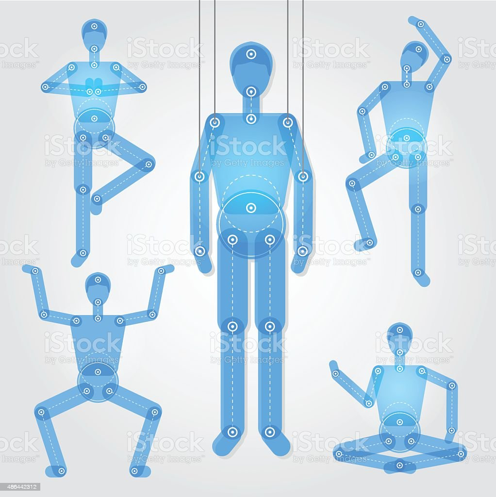 Puppet in a different poses with separated part of body vector art illustration