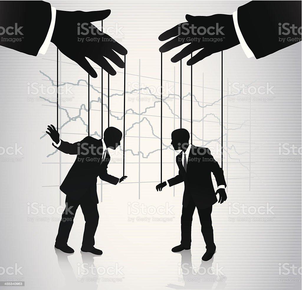 Puppeteer manipulating businessmen vector art illustration