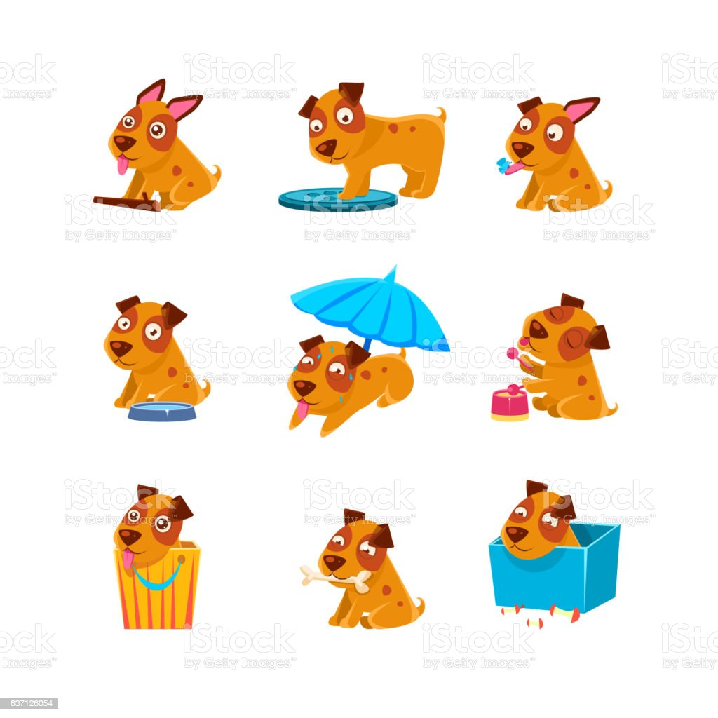 Puppy Everyday Activities Collection vector art illustration