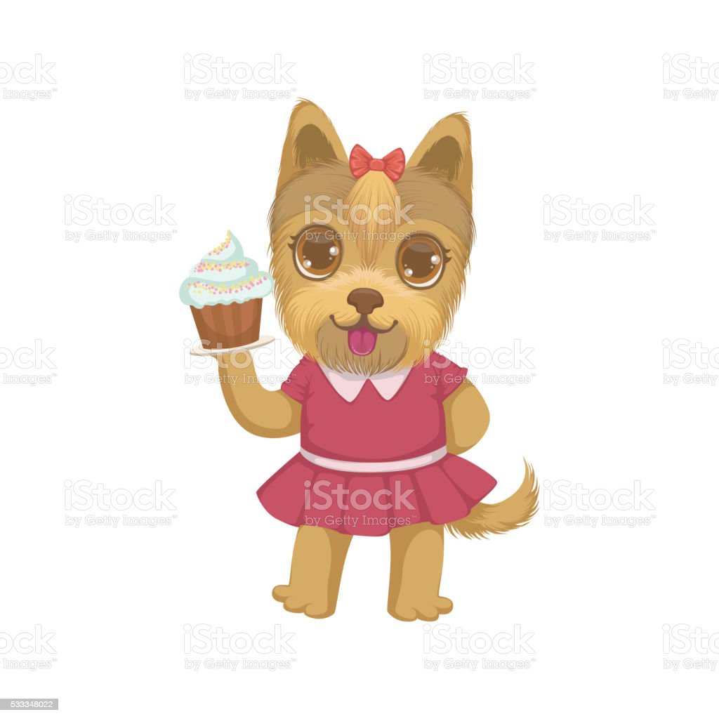 Puppy Holding A Cupcake vector art illustration