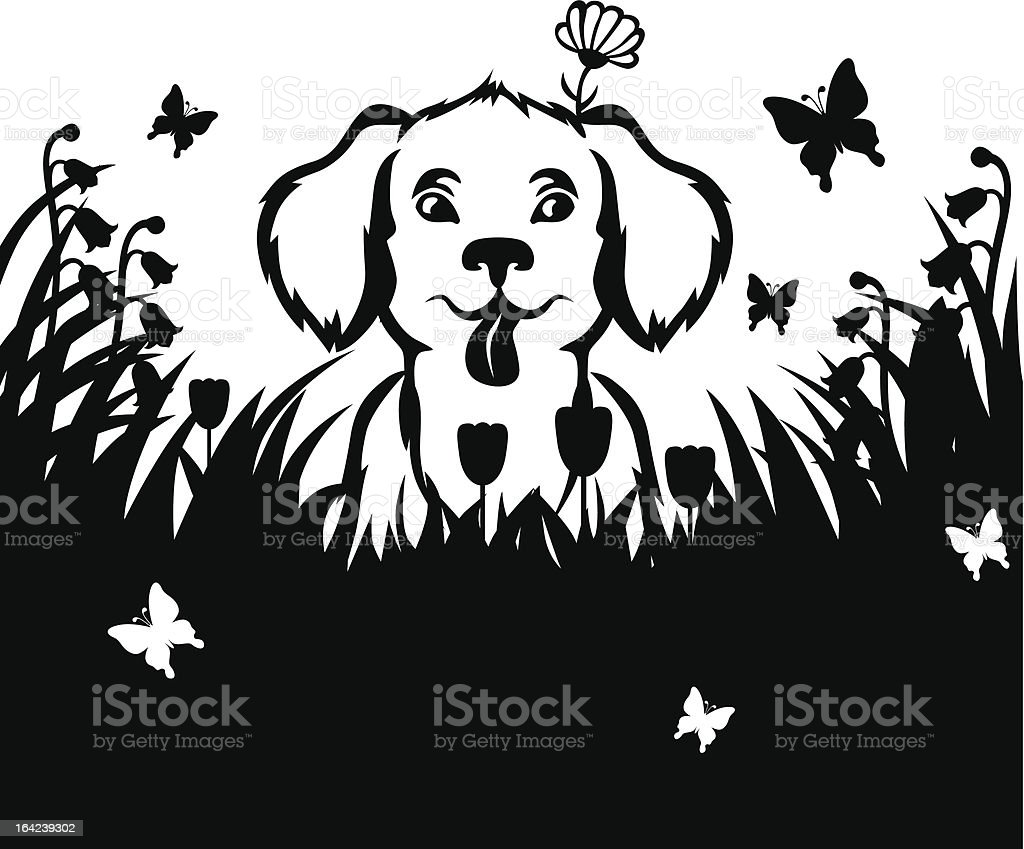 Puppy in a meadow royalty-free stock vector art