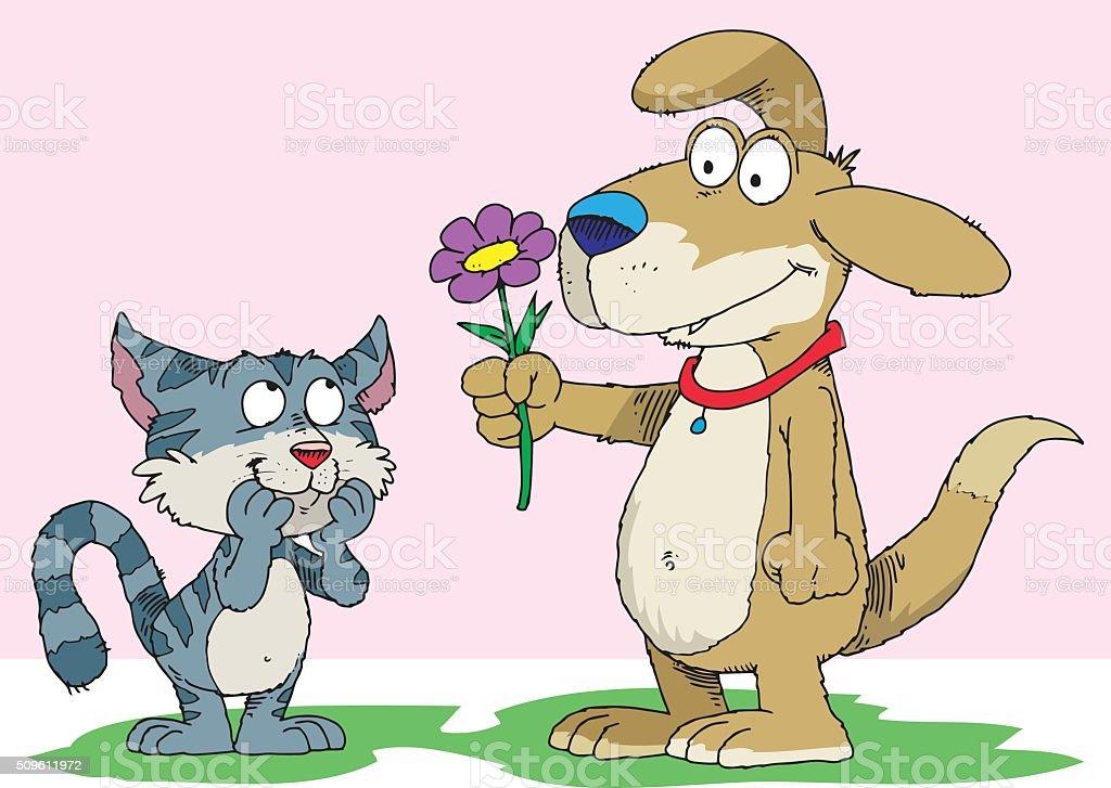 Puppy Love vector art illustration