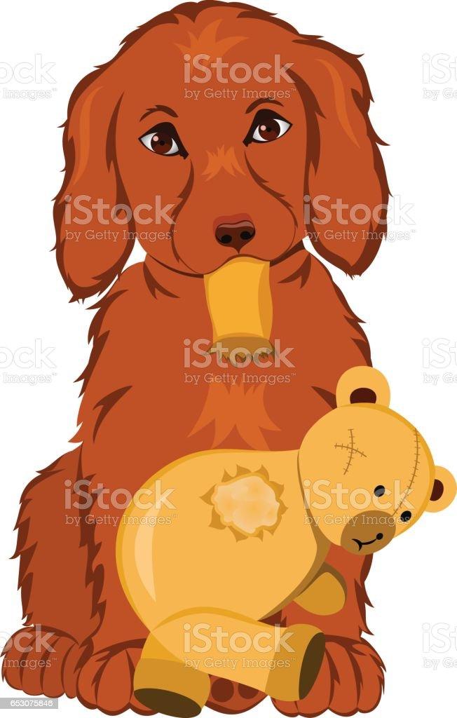 PuppyWithTeddyBear vector art illustration