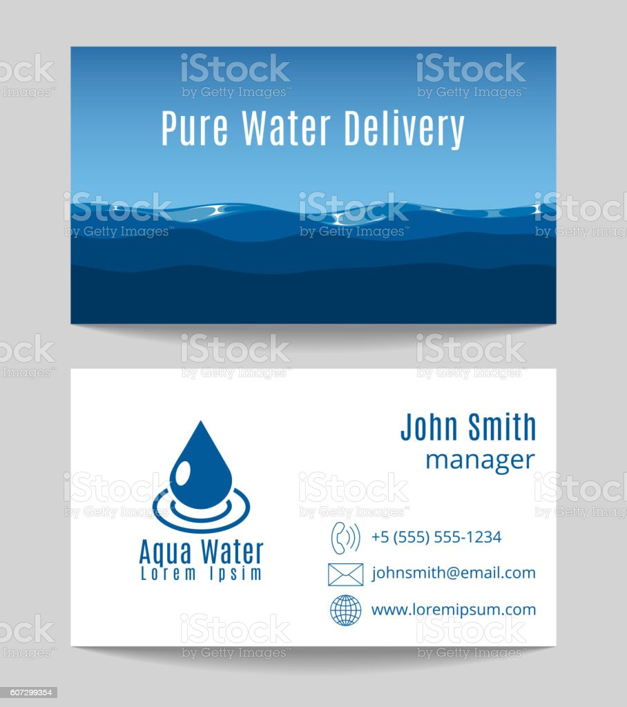 pure water delivery business card template stock vector art
