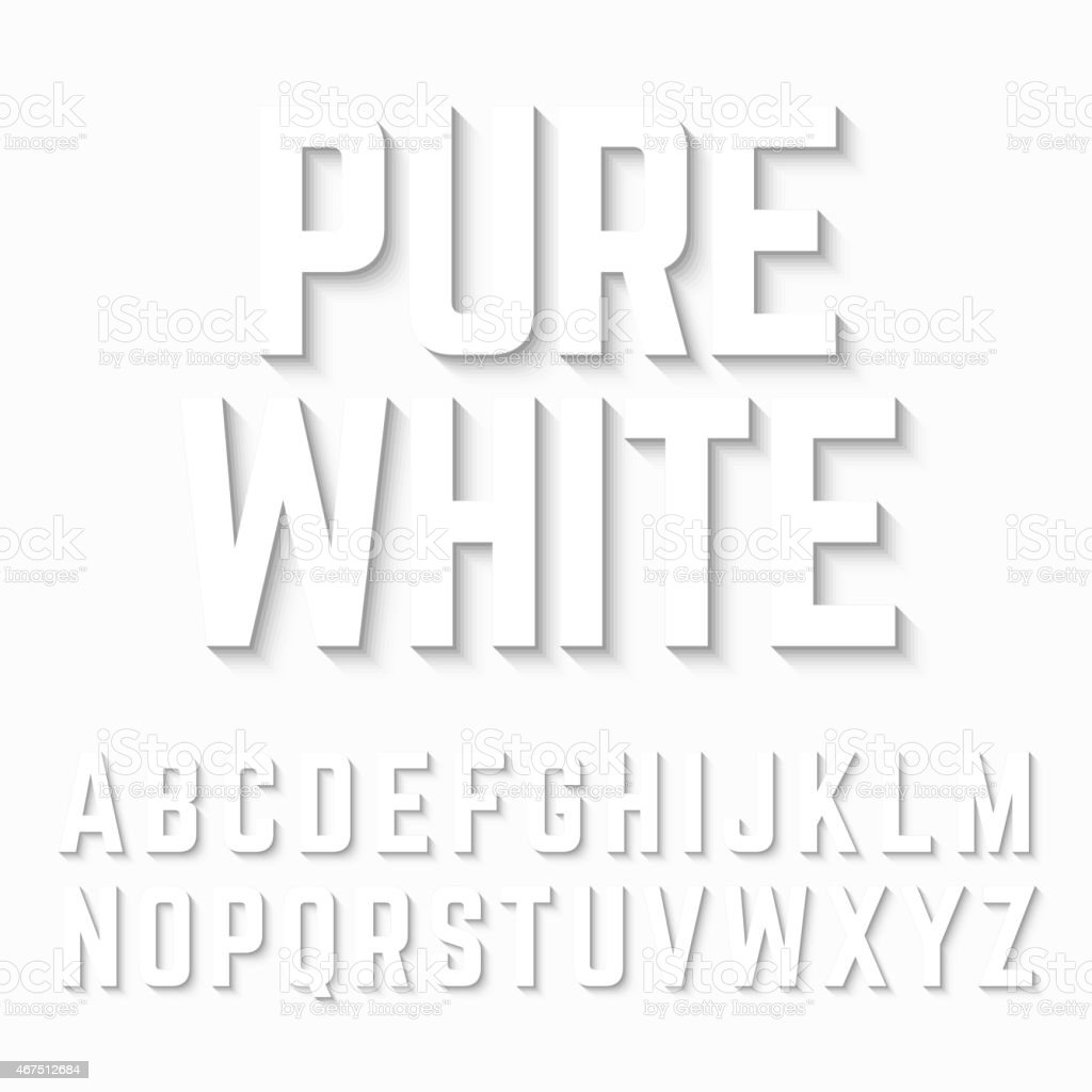 Pure White alphabet shadow vector art illustration