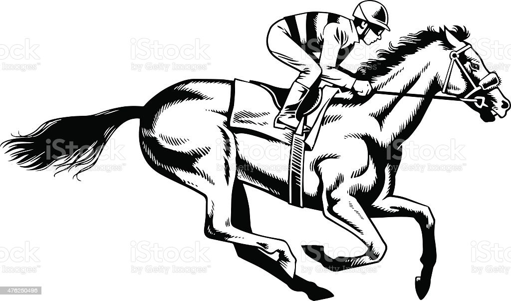 Purebred Horse Racing - Black and White Drawing vector art illustration
