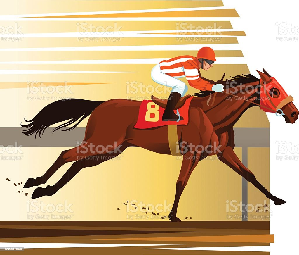 Purebred Horse Winning the Race royalty-free stock vector art