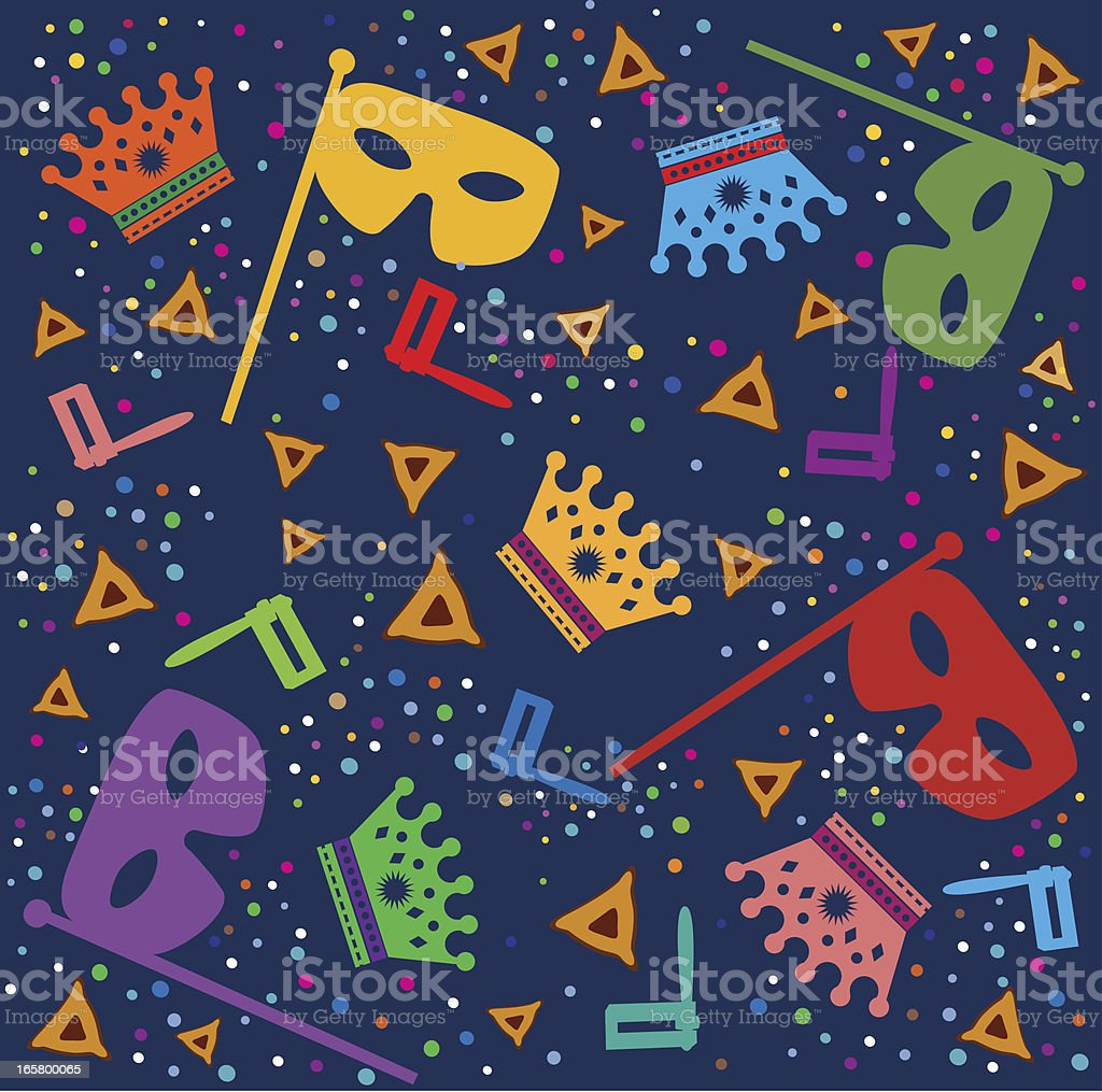 Purim Background With Masks, Rattles and Hamantaschen royalty-free stock vector art