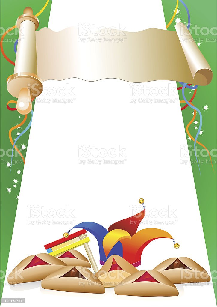 purim decorative border with balloons and clown hat vector art illustration