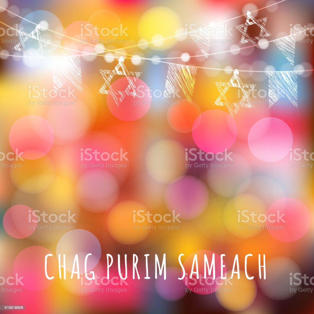 Purim greeting card with garland of lights, jewish stars, vector vector art illustration