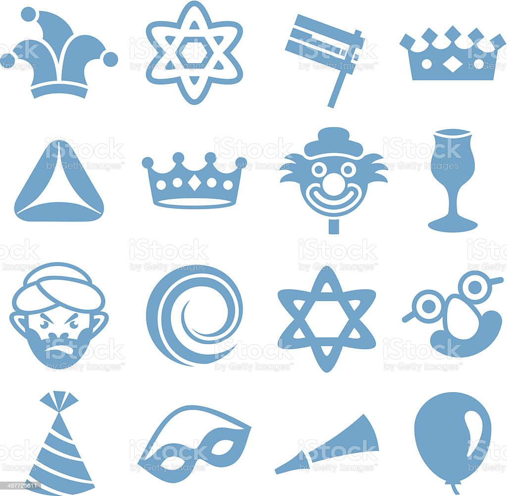 Purim - Icons Set vector art illustration