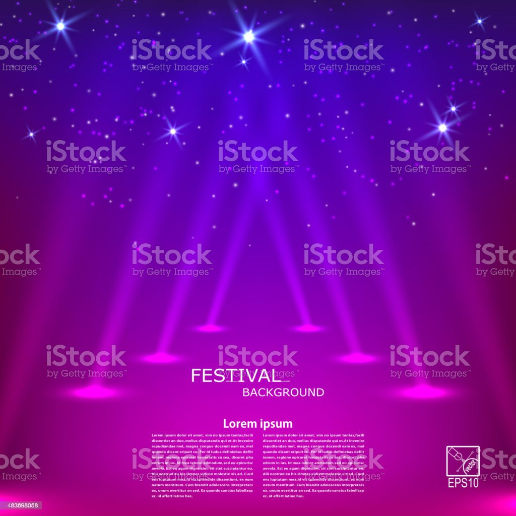 Purple abstract background with rays of spotlights. Vector vector art illustration