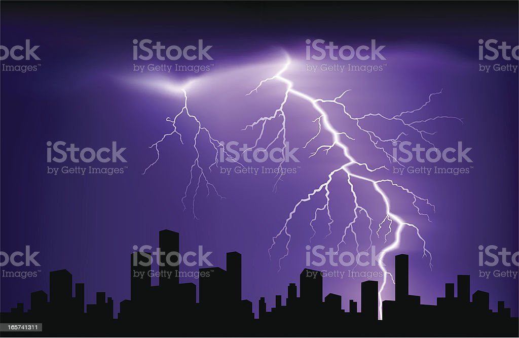 Purple and black landscape with lightning over buildings royalty-free stock vector art