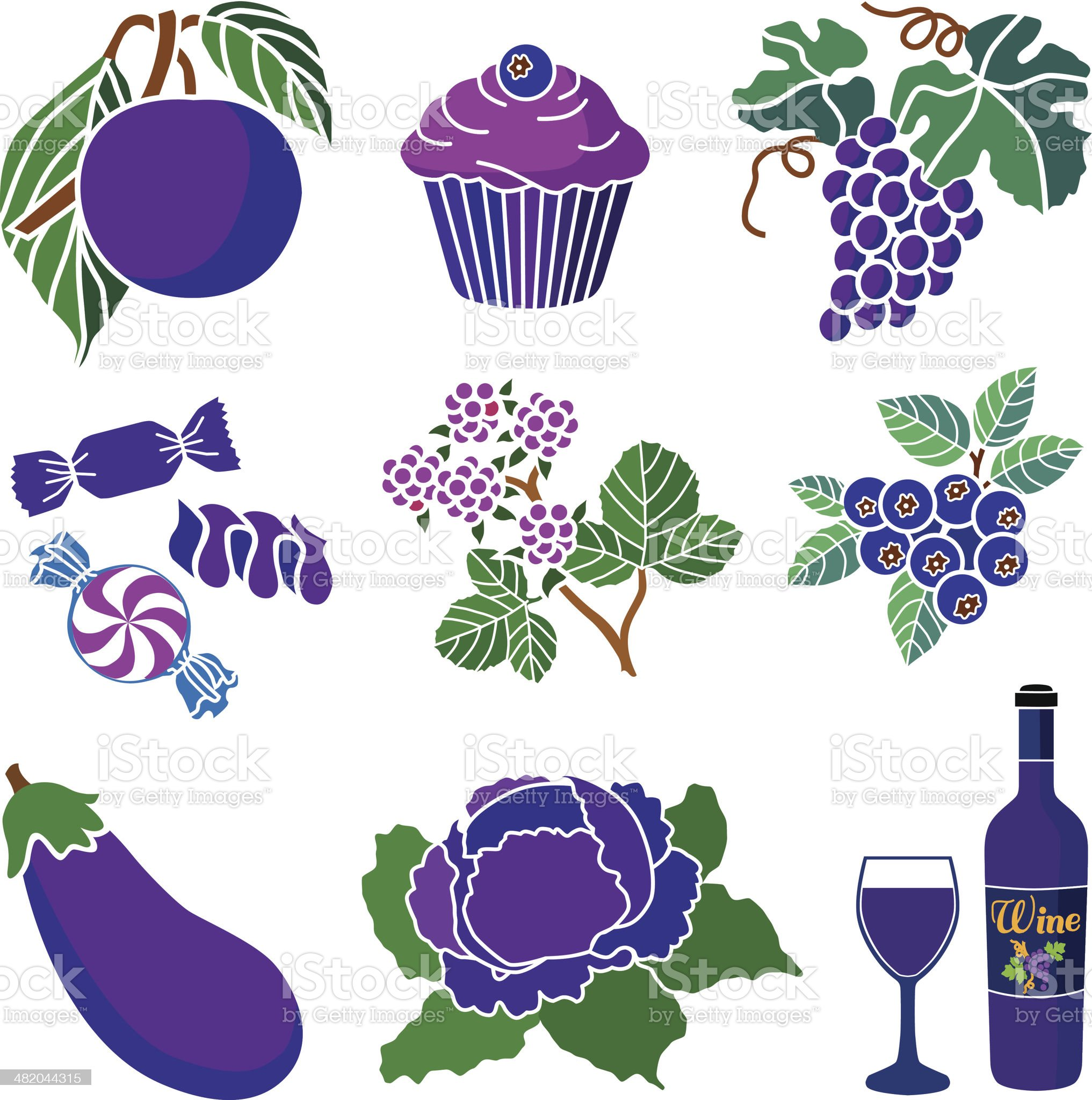purple and blue foods royalty-free stock vector art