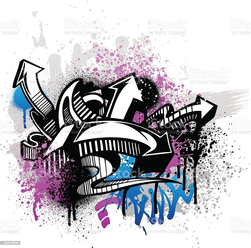 Purple and blue graffiti street art with arrows vector art illustration