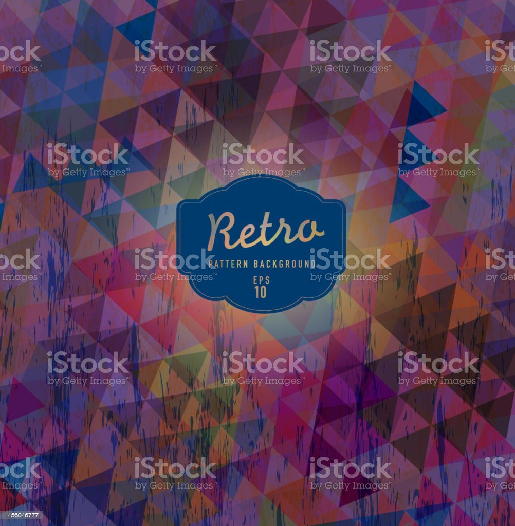 Purple and deep blue Textured and colorful retro triangle background vector art illustration