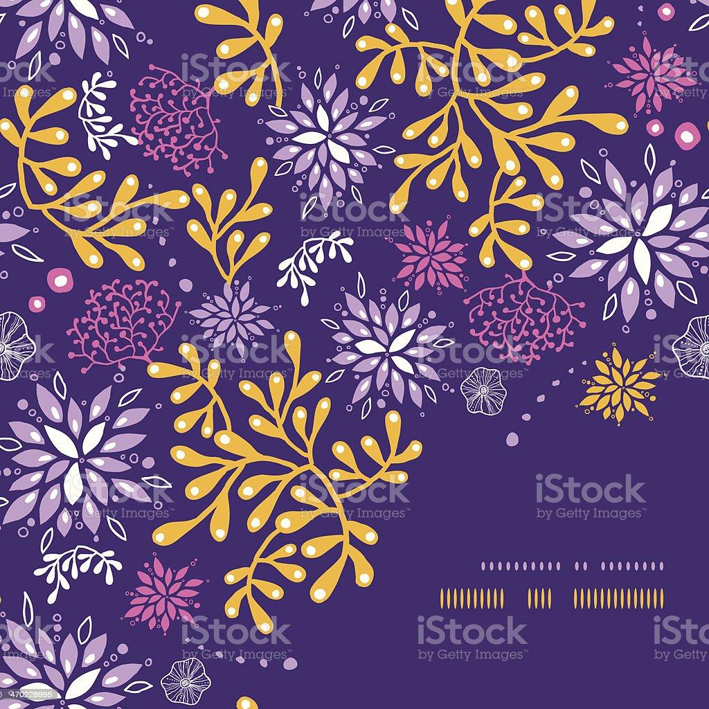 Purple and gold underwater plants corner frame seamless pattern background vector art illustration