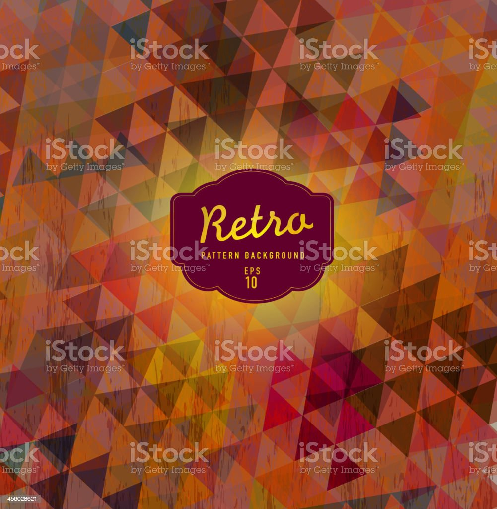 Retro colorful triangle pattern background vector art illustration