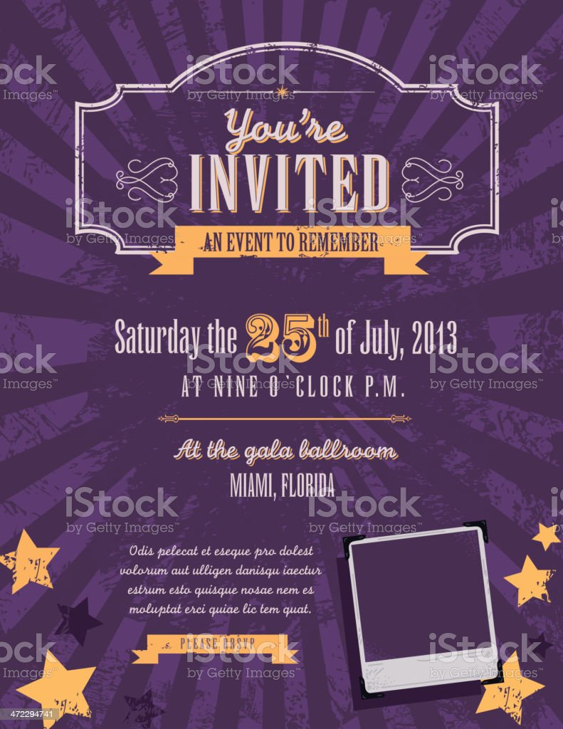 Purple and yellow themed retro vintage invitation design template royalty-free stock vector art